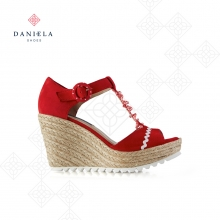 SUEDE SANDAL WITH RUFFLES