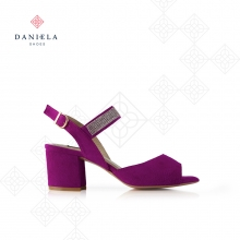 SUEDE SANDAL WITH CRYSTALS