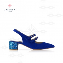 SUEDE SHOE WITH GLITTERED HEEL