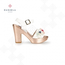 SANDAL IN METALLIC LEATHER AND PATENT LEATHER