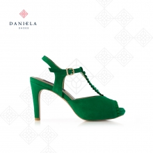 SUEDE SANDAL WITH PLEATED DETAIL